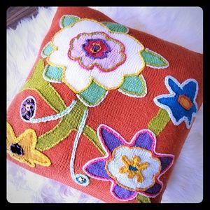 Pottery Barn teen knit throw pillow orange floral